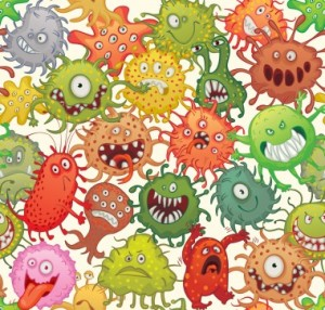 Dangerous microorganisms. Seamless pattern