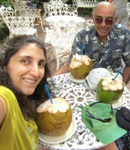 My Dad & I eating one of our favorite things in Mexico - fresh coconuts!